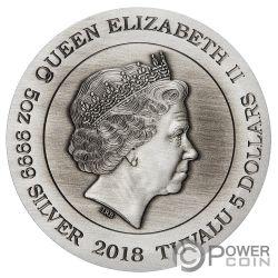 DRAGON 5 Oz Moneda Plata 5$ Tuvalu 2018
