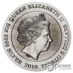 DRAGON 5 Oz Серебро Монета 5$ Тувалу 2018