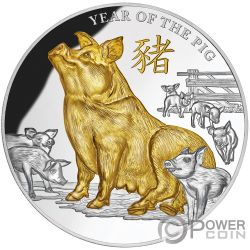 YEAR OF THE PIG Anno Maiale Lunar 5 Oz Moneta Argento 8$ Niue 2019