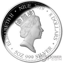YEAR OF THE PIG Jahr Schwein 5 Oz Silber Münze 8$ Niue 2019