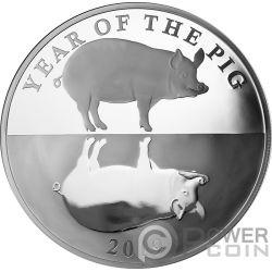 MIRROR PIG Espejo Cerdo Chinese Lunar Year 1 Oz Moneda Plata 5$ Tokelau 2019