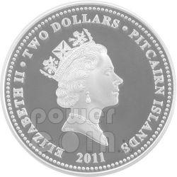 RABBIT PAW PRINT Lunar Year 1 Oz Plata Proof Moneda 2$ Pitcairn Islands 2011