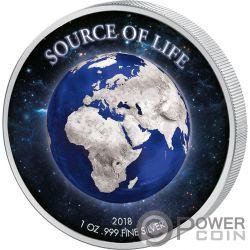EARTH Source of Life 1 Oz Серебро Монета 1000 Франков Бенин 2018
