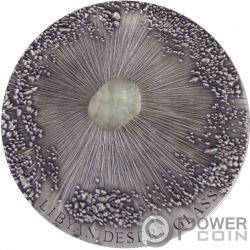 LIBYAN DESERT GLASS Libysche Wüste Meteorite Art 5 Oz Silber Münze 5000 Franken Chad 2017