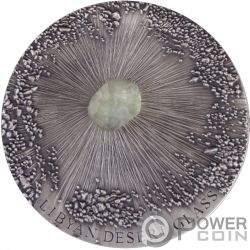LIBYAN DESERT GLASS Meteorite Art 5 Oz Silver Coin 5000 Francs Chad 2017