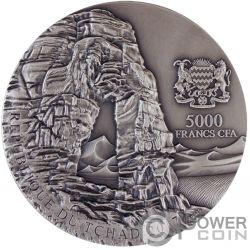 LIBYAN DESERT GLASS Desierto Libio Meteorite Art 5 Oz Moneda Plata 5000 Francos Chad 2017