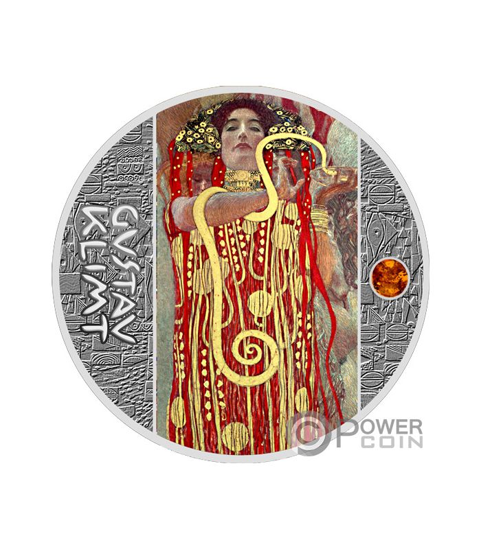 DEATH AND LIFE Amber Gustav Klimt Golden Five Silver Coin 1$ Niue 2019