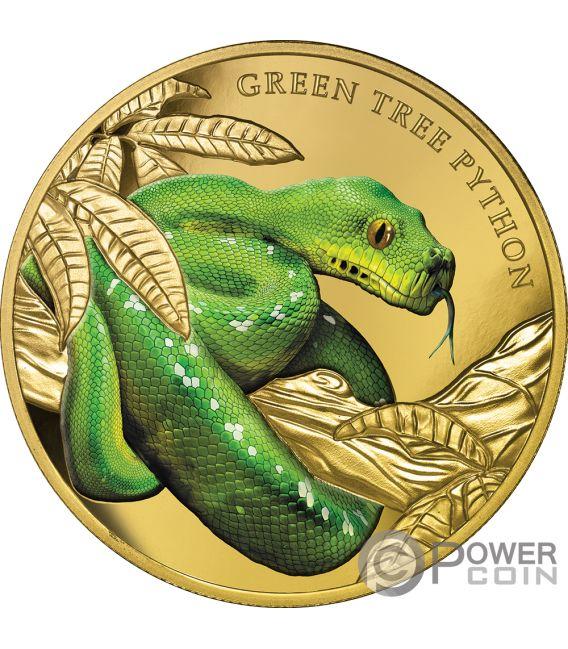 GREEN TREE PYTHON Remarkable Reptiles 1 Oz Gold Coin 100$ Niue 2019