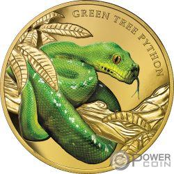 GREEN TREE PYTHON Piton Verde Remarkable Reptiles 1 Oz Moneda Oro 100$ Niue 2019