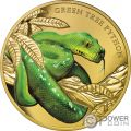 GREEN TREE PYTHON Piton Verde Remarkable Reptiles 1 Oz Moneda Oro 100$ Niue 2019