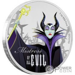 MALEFICENT Sleeping Beauty Disney Villains 1 Oz Silver Coin 2$ Niue 2018