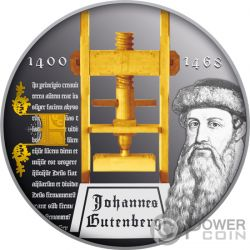 DEATH OF JOHANNES GUTENBERG 550 Jahrestag Tod Silber Münze 1$ Niue 2018