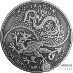 TWO DRAGONS Due Draghi Finitura Antica 1 Oz Moneta Argento 2£ United Kingdom 2018