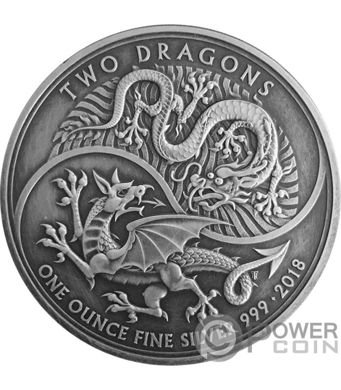 Two Dragons Antique Finish 1 Oz Silver Coin 2 163 United