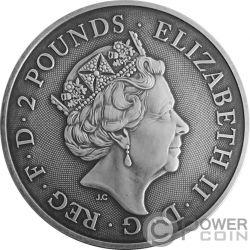 TWO DRAGONS Due Draghi Finitura Antica 1 Oz Moneta Argento 2£ United Kingdom 2018