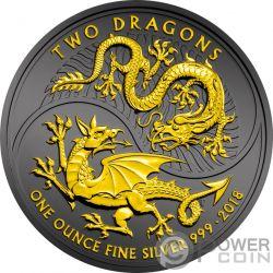 TWO DRAGONS Due Draghi Rutenio 1 Oz Moneta Argento 2£ United Kingdom 2018