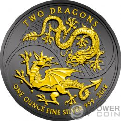 TWO DRAGONS Zwei Drachen Ruthenium 1 Oz Silber Münze 2£ United Kingdom 2018