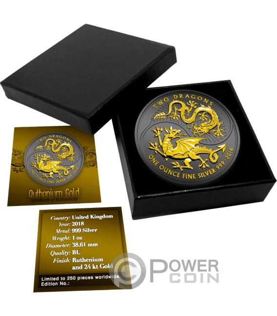 TWO DRAGONS Ruthenium 1 Oz Silver Coin 2£ United Kingdom 2018