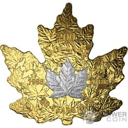 PLATINUM MAPLE LEAF 30th Anniversary Cut Out 1 Oz Gold Coin 200$ Canada 2018