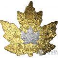 PLATINUM MAPLE LEAF 30th Anniversary Cut Out 1 Oz Gold Coin 200$ Canada 2018