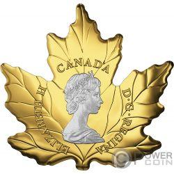 PLATINUM MAPLE LEAF 30 Anniversario Foglia Acero Cut Out 1 Oz Moneta Oro 200$ Canada 2018