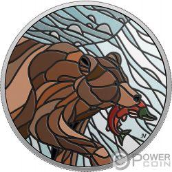 GRIZZLY BEAR Braunbär Canadian Mosaics 1 Oz Silber Münze 20$ Canada 2018