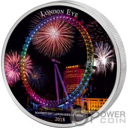 LONDON EYE Ojo Landmarks at Night Ultraviolet 2 Oz Moneda Plata 2000 Francos Ivory Coast 2018