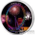 LONDON EYE Ojo Landmarks at Night Ultraviolet 2 Oz Moneda Plata 2000 Francos Ivory Coast 2018