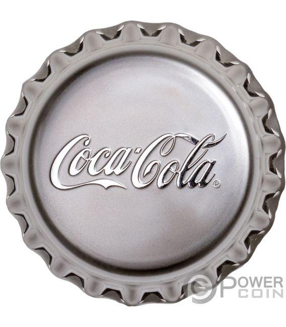 COCA COLA Bottle Cap Shape Proof 1 Oz Silver Coin 1$ Fiji 2018