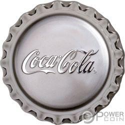 COCA COLA Forma Tappo Bottiglia Proof 1 Oz Moneta Argento 1$ Fiji 2018