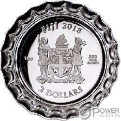COCA COLA Bottle Cap Shape Proof 1 Oz Серебро Монета 1$ Фи́джи 2018