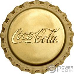 COCA COLA Forma Tappo Bottiglia Moneta Oro 25$ Fiji 2018