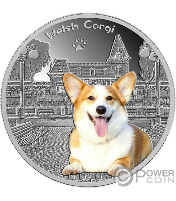 Welsh Corgi Our Faithful Friends Silver Coin 500 Francs