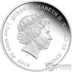 SYLVESTER Silvestre Looney Tunes Moneda Plata 50 Centavos Tuvalu 2018