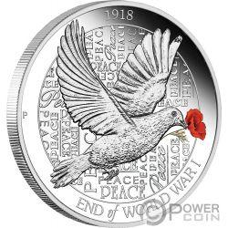 END OF WORLD WAR I Erster Weltkrieg 100 Jahrestag 1 Oz Silber Münze 1$ Australia 2018
