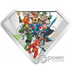 JUSTICE LEAGUE SHIELD Schild DC Comics Originals 10 Oz Silber Münze 100$ Canada 2018