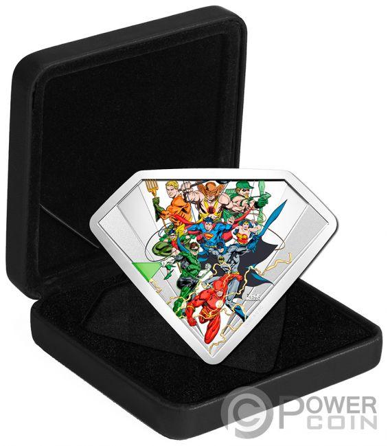 JUSTICE LEAGUE SHIELD DC Comics Originals 10 Oz Silver Coin 100$ Canada 2018