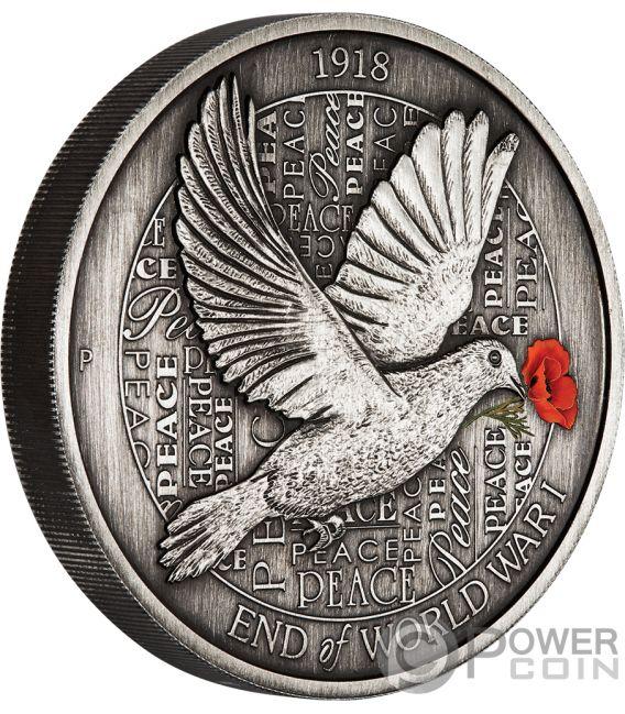 END OF WORLD WAR I 100th Anniversary 5 Oz Silver Coin 8$ Australia 2018