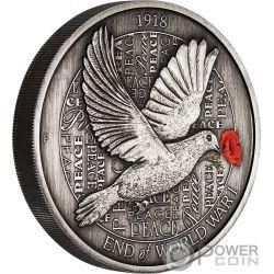 END OF WORLD WAR I Erster Weltkrieg 100 Jahrestag 5 Oz Silber Münze 8$ Australia 2018