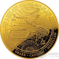 1626 A NEW MAP OF THE WORLD Weltkarte Terrestrial Dome 1 Oz Gold Münze 100$ Australia 2018