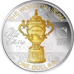 WEBB ELLIS CUP Rugby World Cup Серебро Монета 1$ Новая Зеландия  2011