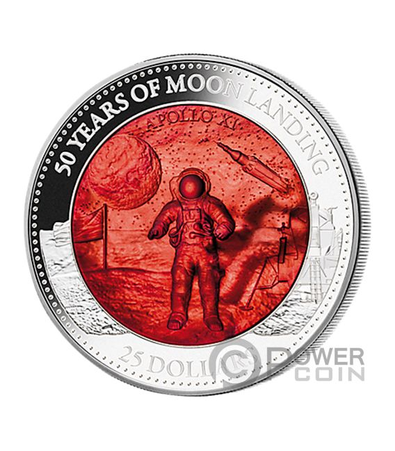 MOON LANDING 50th Anniversary Mother Of Pearl 5 Oz Silver Coin 25$ Solomon Islands 2019