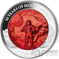 MOON LANDING Aterrizaje Lunar 50 Aniversario Mother Of Pearl 5 Oz Moneda Plata 25$ Solomon Islands 2019