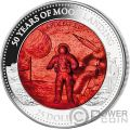 MOON LANDING Sbarco Luna 50 Anniversario Mother Of Pearl 5 Oz Moneta Argento 25$ Solomon Islands 2019
