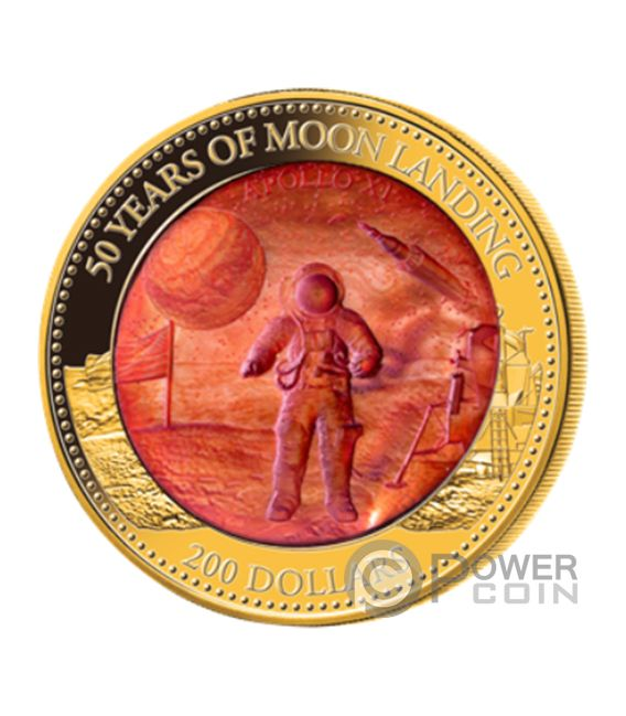Moon Landing 50th Anniversary Mother Of Pearl 5 Oz Gold