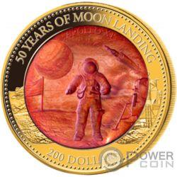 MOON LANDING Sbarco Luna 50 Anniversario Mother Of Pearl 5 Oz Moneta Oro 200$ Solomon Islands 2019