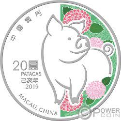 PIG Cerdo Lunar Year 1 Oz Moneda Plata 20 Patacas Macao Macau 2019