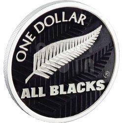 ALL BLACKS RUGBY Fern Серебро Proof Монета 1$ Новая Зеландия  2011