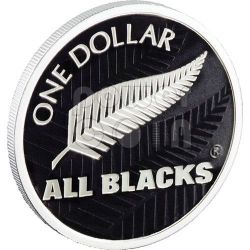 ALL BLACKS RUGBY Fern Silver Proof Coin 1$ New Zealand 2011