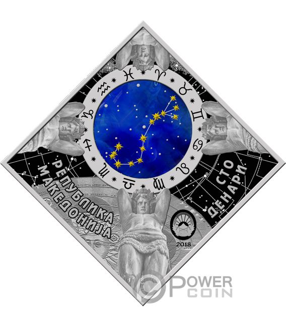 SAGITTARIUS Sagittario Zodiac Signs Moneta Argento 100 Denars Macedonia 2018